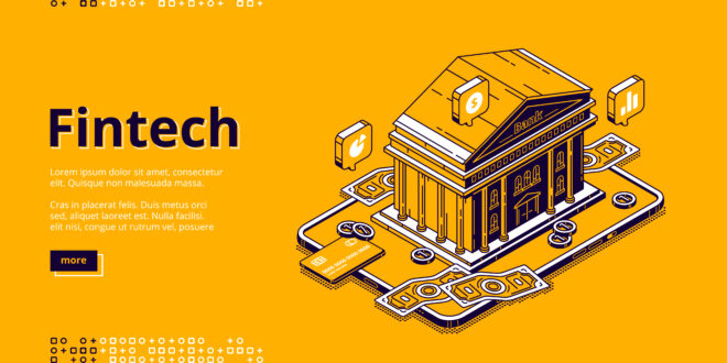 Fintech isometric landing page with bank building